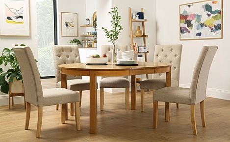Marlborough Round Oak Extending Dining Table with 6 Hatfield Oatmeal Chairs
