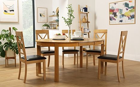 Marlborough Round Oak Extending Dining Table with 6 Kendal Chairs (Brown Seat Pad)