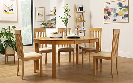 Marlborough Round Oak Extending Dining Table with 6 Oxford Chairs (Ivory Seat Pad)