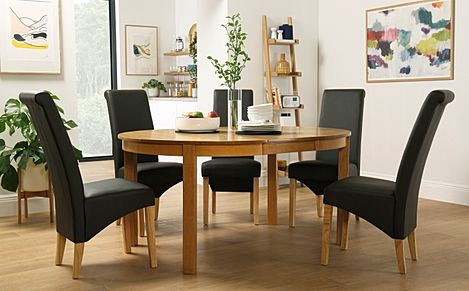 Marlborough Round Oak Extending Dining Table with 6 Richmond Brown Chairs