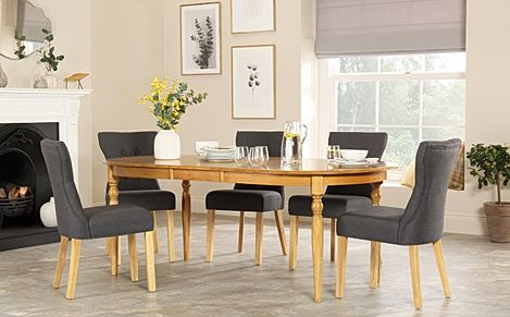 Albany Oval Oak Extending Dining Table with 4 Bewley Slate Chairs