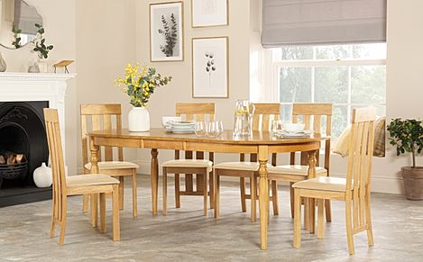 Albany Oval Oak Extending Dining Table with 4 Chester Chairs (Ivory Leather Seat Pad)