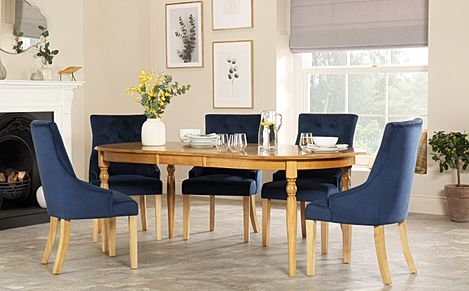 Albany Oval Oak Extending Dining Table with 4 Duke Blue Velvet Chairs