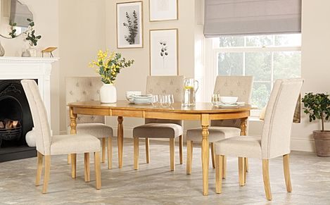 Albany Oval Oak Extending Dining Table with 4 Hatfield Oatmeal Chairs