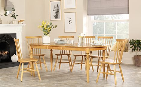 Albany Oval Oak Extending Dining Table with 4 Pendle Chairs