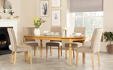 Albany Oval Oak Extending Dining Table with 4 Salisbury Mink Velvet Chairs