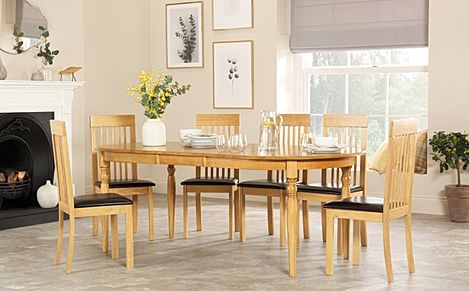 Albany Oval Oak Extending Dining Table with 6 Oxford Chairs (Brown Seat Pad)