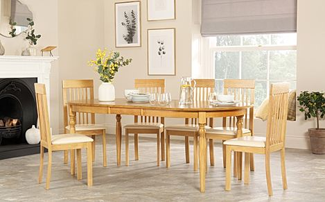 Albany Oval Oak Extending Dining Table with 6 Oxford Chairs (Ivory Seat Pad)