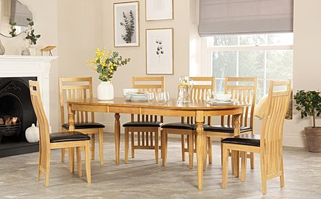 Albany Oval Oak Extending Dining Table with 8 Bali Chairs (Brown Seat Pad)