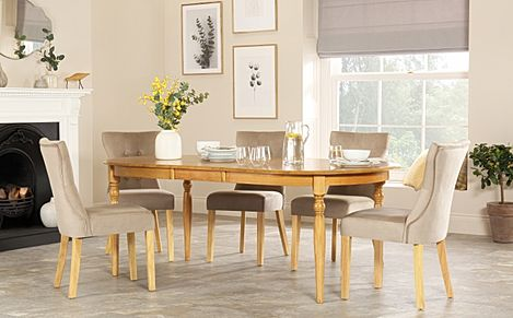 Albany Oval Oak Extending Dining Table with 8 Bewley Mink Velvet Chairs
