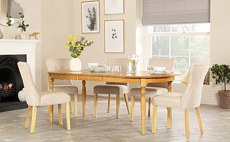 Albany Oval Oak Extending Dining Table with 8 Bewley Oatmeal Chairs