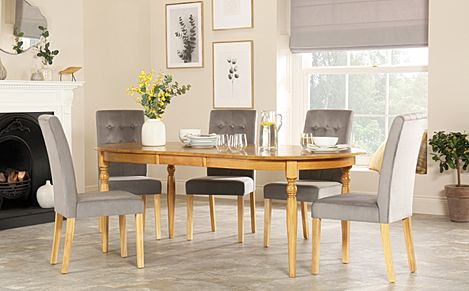 Albany Oval Oak Extending Dining Table with 8 Regent Grey Velvet Chairs