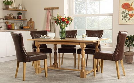 Devonshire Oak Dining Table with 4 Bewley Club Brown Chairs