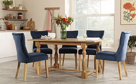 Devonshire Oak Dining Table with 4 Bewley Blue Velvet Chairs