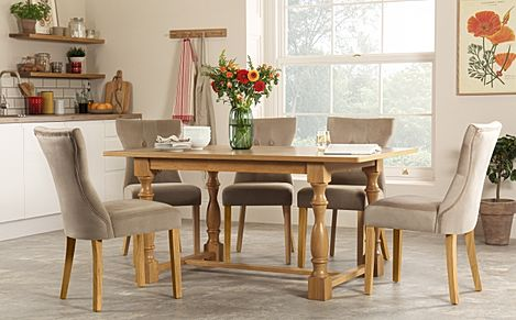 Devonshire Oak Dining Table with 4 Bewley Mink Velvet Chairs