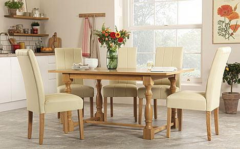 Devonshire Oak Dining Table with 4 Carrick Ivory Chairs