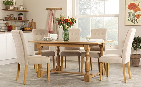 Devonshire Oak Dining Table with 4 Regent Oatmeal Chairs