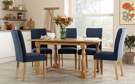 Devonshire Oak Dining Table with 4 Salisbury Blue Velvet Chairs