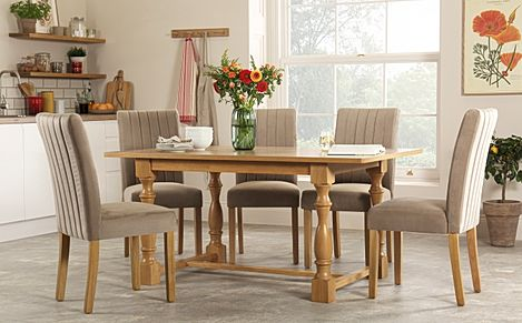 Devonshire Oak Dining Table with 4 Salisbury Mink Velvet Chairs