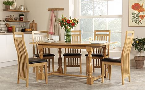 Devonshire Oak Dining Table with 6 Bali Chairs (Brown Seat Pad)