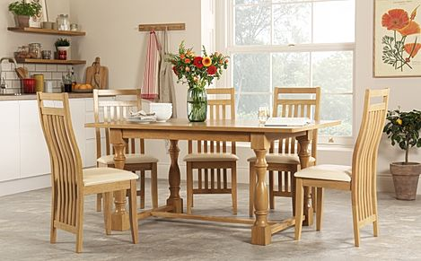 Devonshire Oak Dining Table with 6 Bali Chairs (Ivory Seat Pad)