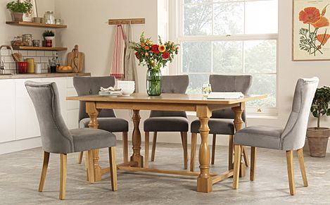 Devonshire Oak Dining Table with 6 Bewley Grey Velvet Chairs