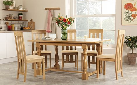 Devonshire Oak Dining Table with 6 Chester Chairs (Ivory Seat Pad)