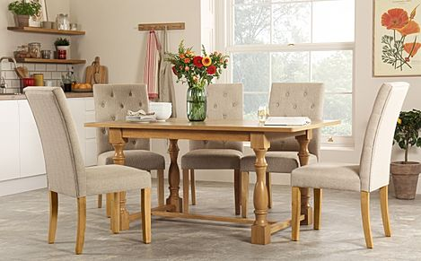 Devonshire Oak Dining Table with 6 Hatfield Oatmeal Chairs