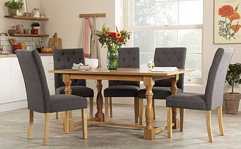 Devonshire Oak Dining Table with 6 Hatfield Slate Chairs