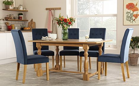 Devonshire Oak Dining Table with 6 Regent Blue Velvet Chairs
