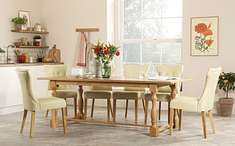 Devonshire Oak Extending Dining Table with 6 Bewley Ivory Leather Chairs