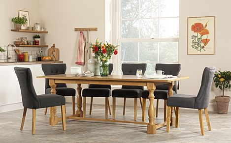 Devonshire Oak Extending Dining Table with 6 Bewley Slate Fabric Chairs
