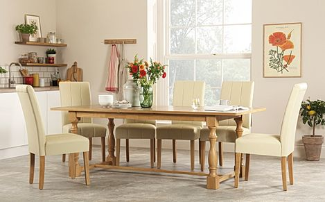 Devonshire Oak Extending Dining Table with 6 Carrick Ivory Leather Chairs