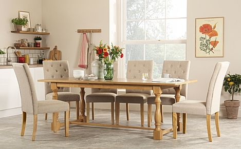 Devonshire Oak Extending Dining Table with 6 Hatfield Oatmeal Fabric Chairs