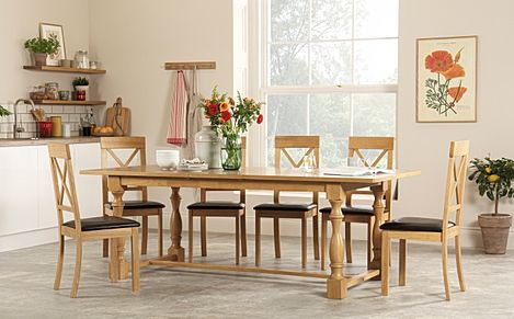 Devonshire Oak Extending Dining Table with 6 Kendal Chairs (Brown Leather Seat Pads)