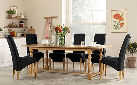 Devonshire Oak Extending Dining Table with 6 Richmond Black Leather Chairs