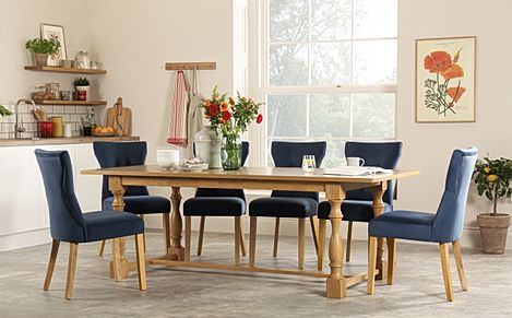 Devonshire Oak Extending Dining Table with 8 Bewley Blue Velvet Chairs