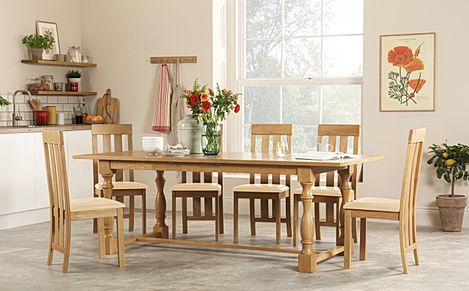 Devonshire Oak Extending Dining Table with 8 Chester Chairs (Ivory Leather Seat Pads)