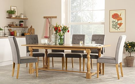 Devonshire Oak Extending Dining Table with 8 Regent Grey Velvet Chairs