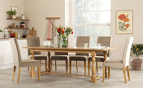 Devonshire Oak Extending Dining Table with 8 Regent Mink Velvet Chairs