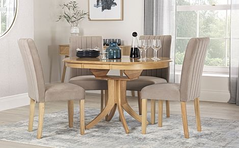 Hudson Round Oak Extending Dining Table with 4 Salisbury Mink Velvet Chairs