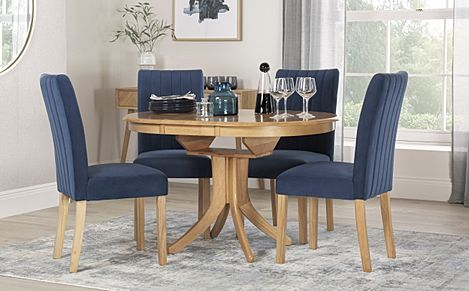 Hudson Round Oak Extending Dining Table with 4 Salisbury Blue Velvet Chairs