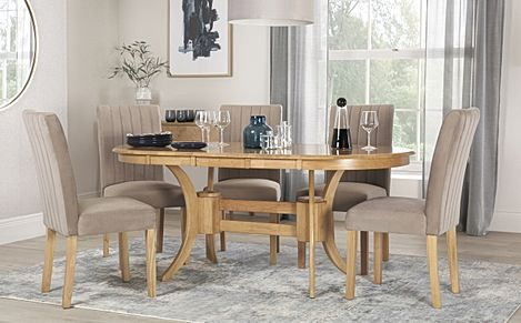 Townhouse Oval Oak Extending Dining Table with 4 Salisbury Mink Velvet Chairs