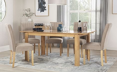 Bali Oak Extending Dining Table with 6 Salisbury Mink Velvet Chairs
