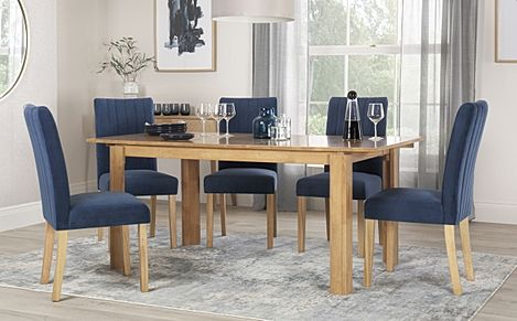 Bali Oak Extending Dining Table with 6 Salisbury Blue Velvet Chairs