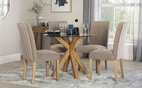 Hatton Round Oak and Glass Dining Table with 4 Salisbury Mink Velvet Chairs