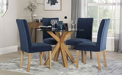 Hatton Round Oak and Glass Dining Table with 4 Salisbury Blue Velvet Chairs