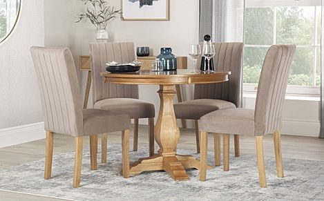 Cavendish Round Oak Dining Table with 4 Salisbury Mink Velvet Chairs