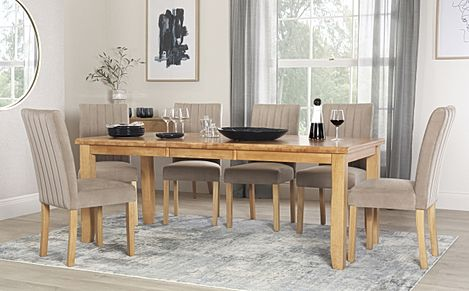 Highbury Oak Extending Dining Table with 8 Salisbury Mink Velvet Chairs