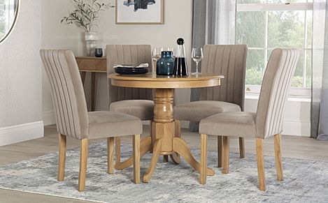 Kingston Round Oak Dining Table with 4 Salisbury Mink Velvet Chairs